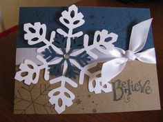 Handmade Christmas Cards handmade gifts it yourself decorating ideas Christmas Cards To Make, Xmas Cards, Handmade Christmas, Christmas Crafts, Cards Diy, Snowflake Cards, Snowflakes, Beautiful Christmas Decorations, Winter Cards