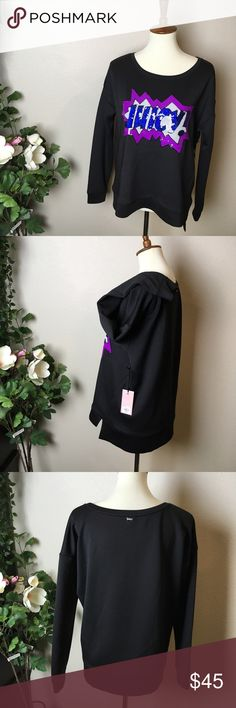 NWT Juicy Couture Pow! Black Blouse Really nice fabric. New with tag.  Size XL. Can be worn from size S -if you enjoy a more large blouse design.  Make a reasonable offer and I'll either counter, accept or decline. No trades. Please check out the rest of my closet, I have various brands. Juicy Couture Tops Blouses