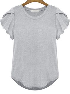 Grey Round Neck Ruffle Short Sleeve T-Shirt pictures