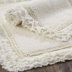 A treat for wet feet, our cotton bath rug is made for long-lasting comfort and easy care. And if you're looking for a little frill, it has a sweet, frayed edge, which resembles a ruffled border. Bath Rugs, Bathroom Rugs, Bathroom Ideas, Bathroom Closet, Washroom, Bathroom Renovations, Cheap Diy Home Decor, Thing 1, Creative Home