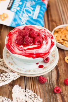 No Bake Cheesecake Dip with Raspberry Sauce