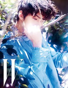 EXO Sehun for W Korea magazine - EXOclusive 연한 하늘색 스트라이프 셔츠는 Blindness 제품