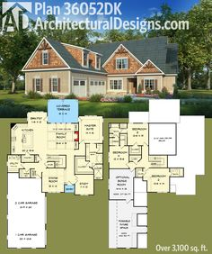 Architectural Designs Master-down House Plan 36052DK has a large garage with expansion space above and over 3,100 sq. ft. of living space. Ready when you are. Where do YOU want to build?