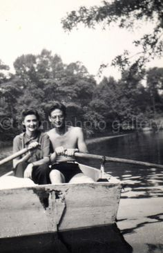 Vintage Photo Couple in Row Boat Snapshot  by foundphotogallery