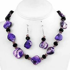Beautiful Single Row Shell Necklace and Earring Set - Purple null,http://www.amazon.com/dp/B00AANJ4KY/ref=cm_sw_r_pi_dp_FODYsb0422984QMA