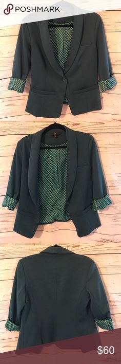 Teal + Patterned Suit Jacket This suit jacket is very great quality, it is thick, it has lined material with an adorable pattern, it is in great condition also has shoulder pads. Out Shell: 76% polyester, 20% rayon, 4% spandex. Lining: %100 polyester Mossimo Supply Co Jackets & Coats Blazers