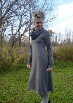 Organic Clothing - Organic Cotton Cowl Neck Midi Dress - Shown in Gray - Made to Order. $125.00, via Etsy.