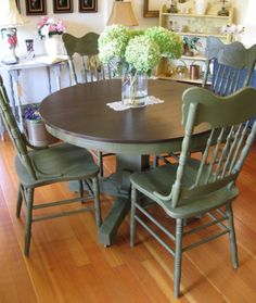 Olive green painted farmhouse table & chairs, with dark brown stained tabletop & seats