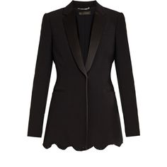 Versace Satin-lapel embellished cady jacket ($835) ❤ liked on Polyvore featuring outerwear, jackets, versace, black, tailored jacket, embellished jacket, lapel jacket and slim jacket
