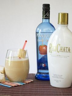Caramel Apple Pie Cocktail: 1 cup Apple Cider, 1 oz Pinnacle Caramel Apple Vodka, 1 oz RumChata, Ice