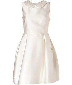ROCHAS Ivory Round Collar Satin Dress