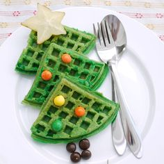 This recipe calls for pandan-flavored waffles, but you could also achieve the same look with food coloring. Find the recipe here.