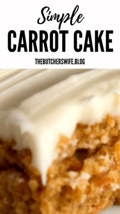 Yummy Carrot Cake is easy to make! It is simple but delicious! A moist carrot cake with a sweet and creamy cream cheese frosting! Carrot Cake Bars, Easy Carrot Cake, Moist Carrot Cakes, Delicious Desserts, Dessert Recipes, Bar Recipes, Yummy Treats, Recipies, Cake Fillings