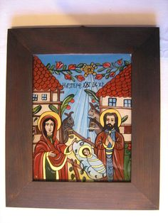 Prayer Cards, Sacred Art, Religious Art, Nativity, Folk, Religion, Glass, Mexican, Painting