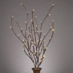 """Everlasting Glow LED 39"""" Electric Brown-Wrapped Lighted Faux Branch, 72 Clear Rice Lights, Set of 3 $27"""