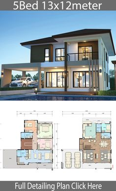 House design plan 13x12m with 5 bedrooms - Home Design with Plan