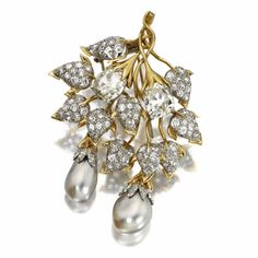 Diamond and Natural Pearl Brooch, Schlumberger for Tiffany & Co.