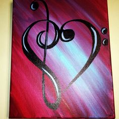 Treble bass clef Music note heart painting by nicciwd40 on Etsy