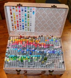 """Tracy Says…: Check Out My New Copic Holder! and a ''how-to"""" on the mak… Tracy Says…: Check Out My New Copic Holder! Copic Marker Art, Art Supplies Storage, Art Storage, Storage Ideas, Marker Storage, Cool School Supplies, Craft Organization, Organizing, Copics"""