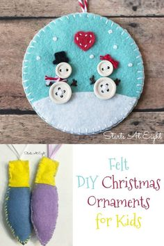 Felt DIY Ornaments for Kids from Starts At Eight. Stock up on various colors of felt and make some of these Felt DIY Christmas Ornaments for Kids! Trees, snow globes, angels, candy canes, bulbs and more! Kids Christmas Ornaments, Christmas Activities For Kids, Handmade Christmas Gifts, Christmas Gifts For Kids, Felt Ornaments, Christmas Projects, Christmas Crafts, Felt Projects, Christmas Ideas