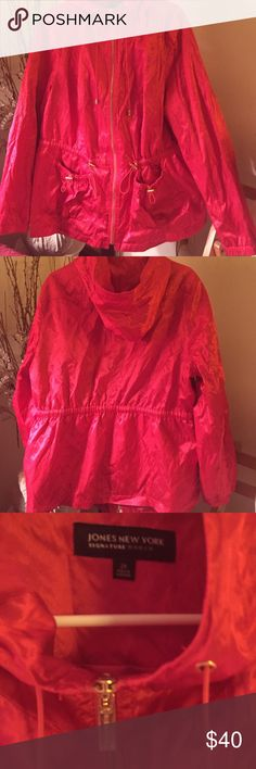 Jones New York Signature women zip up jacket Classy simmering orange hooded jacket with gold metal details. Falls just below the waist. Jones New York Jackets & Coats Utility Jackets