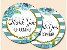 Teal and Gold Thank You Tags Gold Baby Showers, Teal And Gold, Thank You Tags, Bridal Shower Favors, Favor Tags, Baby Shower Games, Free Printables, Free Printable, Bachelorette Party Gifts