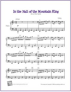 In the Hall of the Mountain King (Grieg)   Sheet Music for Easy Piano - http://makingmusicfun.net/htm/f_printit_free_printable_sheet_music/in-the-hall-of-the-mountain-king-piano.htm