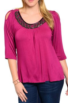 DHStyles Women's Magenta Plus Size Trendy Beaded Neckline Soft Knit Quarter Sleeve Top #sexytops #clubclothes #sexydresses #fashionablesexydress #sexyshirts #sexyclothes #cocktaildresses #clubwear #cheapsexydresses #clubdresses #cheaptops #partytops #partydress #haltertops #cocktaildresses #partydresses #minidress #nightclubclothes #hotfashion #juniorsclothing #cocktaildress #glamclothing #sexytop #womensclothes #clubbingclothes #juniorsclothes #juniorclothes #trendyclothing #minidresses…