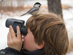 Un niño en su paseo para mirar aves...