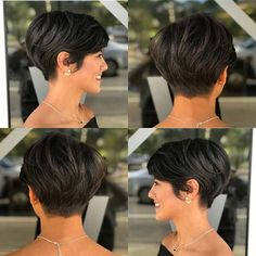 Cortes de cabelo bob curto, leve, cabelo estilo bob, modelo de cabelo c Longer Pixie Haircut, Short Pixie Haircuts, Cute Hairstyles For Short Hair, Short Hair Cuts For Women, Curly Hair Styles, Short Pixie Bob, Women Pixie Haircut, Pixie Haircut For Thick Hair, Cut Hairstyles