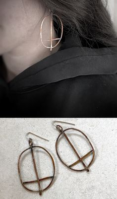 Cross the Line. Hand made copper and sterlilng silver earrings.