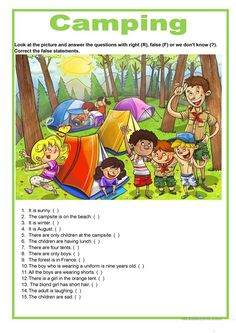 Description image - On va faire du camping Learning English For Kids, English Worksheets For Kids, German Language Learning, English Activities, Teaching English, Picture Comprehension, Reading Comprehension Worksheets, English Fun, English Lessons