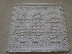 This dishcloth requires one ball of 100% cotton worsted weight yarn. Cast on 45 stitches and work 68 rows on size 3.5 mm knitting needles.