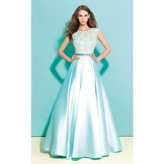 Madison James 17320M Ball Gown Long High Neckline Short Sleeve ($390) ❤ liked on Polyvore featuring dresses, gowns, aqua, formal dresses, formal gowns, prom dresses, lace prom dresses, long evening dresses and lace formal gown