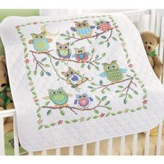 Amazon.com: Baby Owls Baby Quilt Stamped Cross-Stitch Kit: Home & Kitchen