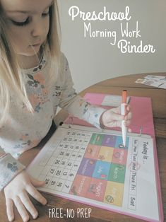 """I have done some sort of """"morning work"""" with Emma since she was two but had a hard time staying consistent. There were so many skills I wanted to work on and it felt very overwhelming! Preschool Binder, Preschool Prep, Preschool At Home, Toddler Preschool, Preschool Learning Activities, Baby Learning, Preschool Activities, Morning Activities, Preschool Projects"""