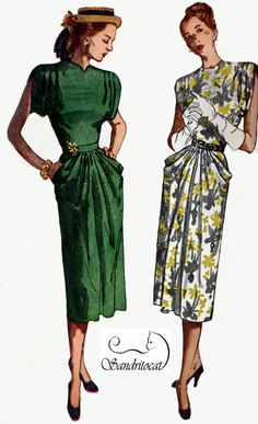 1940s Dress with Shoulder Tucks, Sleeve and Pocket Drapery Simplicity 2087 Vintage 40s Rockabilly Sewing Pattern Size 12 Bust 30 by sandritocat on Etsy