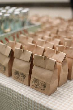 Love this brown paper bag wedding favor idea. favors diy 29 DIY Winter Wedding Favors for Guests to Cozy Up To Wedding Favors And Gifts, Affordable Wedding Favours, Winter Wedding Favors, Wedding Reception, Fall Wedding, Party Favors, Winter Weddings, Wedding Venues, Wedding Souvenirs For Guests Unique