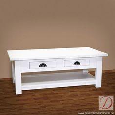 Couchtisch LUTON weiß B120cm Pinie Massivholz - Geradlinig und bodenständig - so kommt dieser Wohnzimmertisch daher. Traditionelle Handwerkskunst und edles, massives Pinienholz vereinen sich in diesem rustikalen Möbelstück.