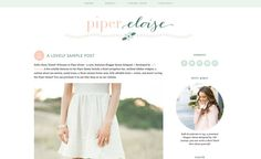 Piper Eloise is an adorable, feminine premade Blogger template. The header features a pretty flower string accented by whimsical fonts in peach