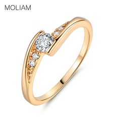 MOLIAM Fashion Brand Rings Gold Plated White Austrian Crystal Zircon Engagement Ring For Women Party Jewelry MLR008/MLR009