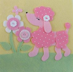 If I had a little girl...I think I would HAVE to do Pink POODLES...Oh my goodness!!!  LOVE IT!!!! Applique Patterns, Felt Applique, Applique Designs, Felt Patterns, Embroidery Applique, Cachorros Poodle, Collage, Felt Christmas, Pink Poodle