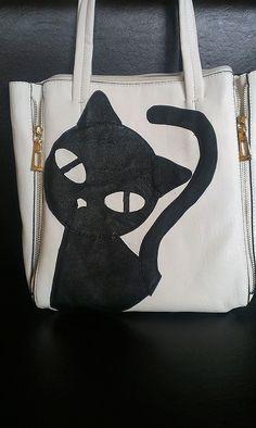 Handmade purseleather handbagBlack cat handbagcat by MyDreamLamps
