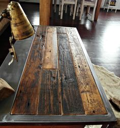 Kitchen table from reclaimed barn wood Welded Furniture, Industrial Design Furniture, Iron Furniture, Industrial Table, Steel Furniture, Custom Furniture, Furniture Design, Welding Projects, Diy Wood Projects