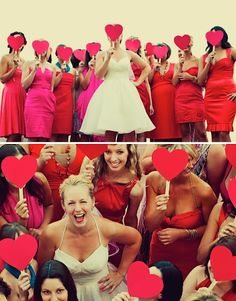 Like the idea of pink & red bridesmade dresses