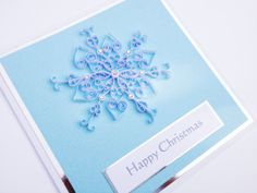 Snowflake handmade quilled Christmas card. Can be personalised £6.00