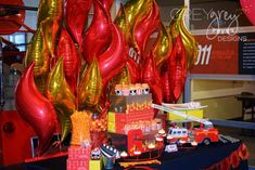 Dessert table at a firefighter birthday party! See more party planning ideas at CatchMyParty.com!