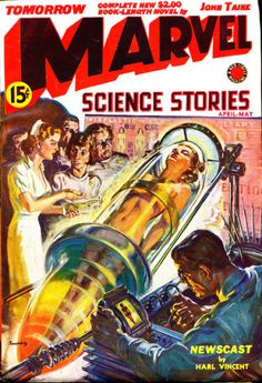 Norman Saunders, Marvel Science Stories 39-04, a classic woman-in-a-cylinder cover. They are all over the pulps.