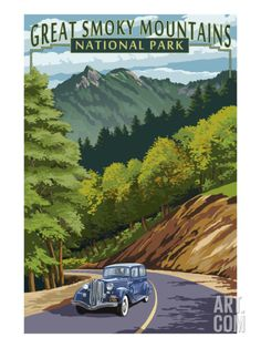 Chimney Tops and Road - Great Smoky Mountains National Park, TN Art Print by Lantern Press at Art.com