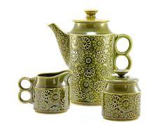 Retro Ceramic Pitcher, Creamer & Sugar Bowl Set - Raised Floral Pattern, 1960's